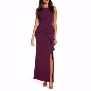 Eliza J Purple Ruffle Front Formal Gown Dress Sz 6